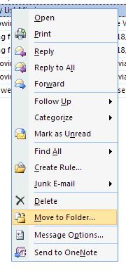 """Move to Folder"" option on the item context menu"